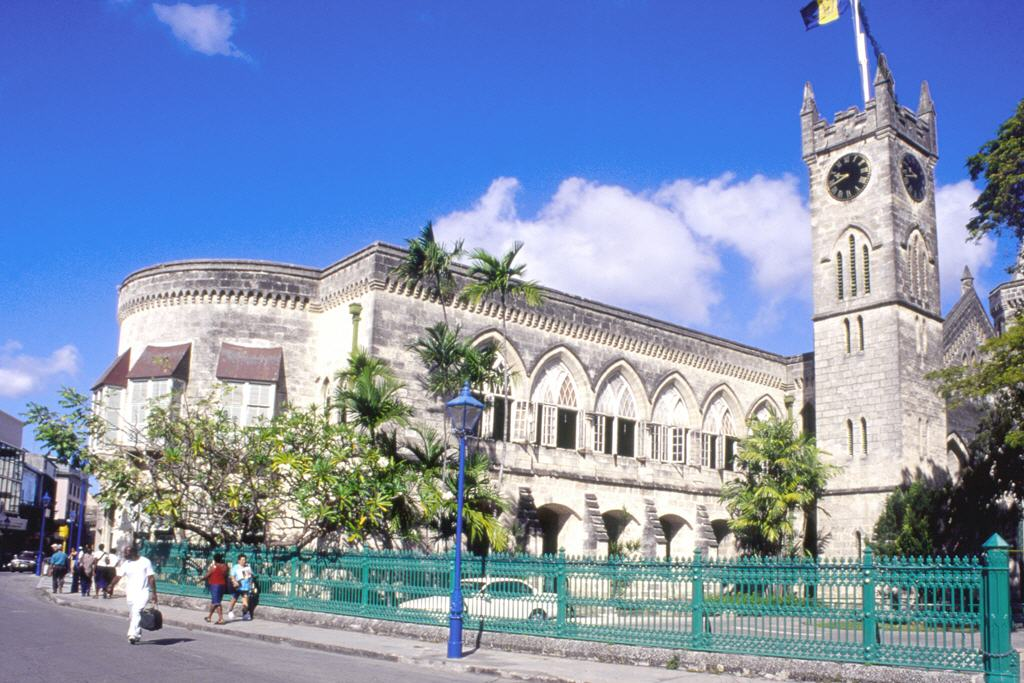 Bridgetown: clock tower by parliament